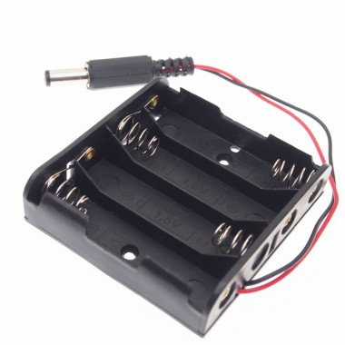 4 AA Battery Holder with DC connector