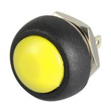 12 mm Electric Domed Head Momentary Push Button - YELLOW