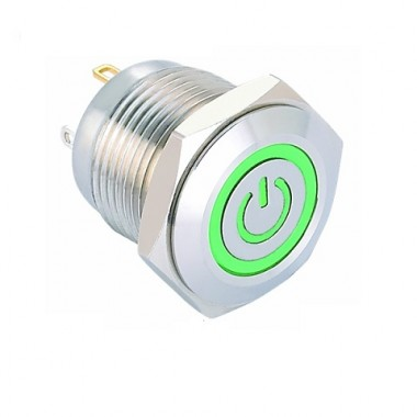 Stainless Steel Push Button Switch Power Symbol LED - 16mm GREEN