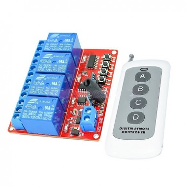 12V-4CH-1000m-Remote-Control-Relay-Switch-Transceiver-Receiver-433MHz